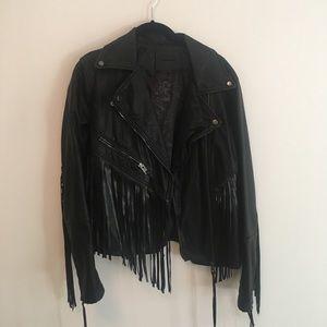Blank NYC faux leather fringe jacket